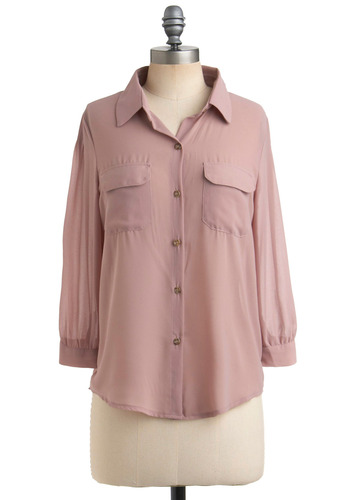 Keep It Mauve-in Top - Pink, Solid, Pockets, Casual, Urban, Long Sleeve, Mid-length