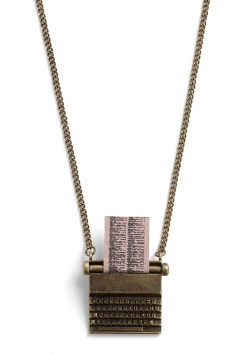 Just My Typewriter Necklace by And Mary - Gold, Casual, Steampunk, Scholastic/Collegiate