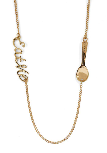 Just a Bite Necklace by And Mary - Gold, Chain, Casual