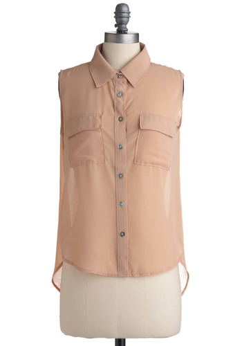 Mute Button Top - Tan, Solid, Buttons, Pockets, Casual, Sleeveless, Spring, Summer, Mid-length