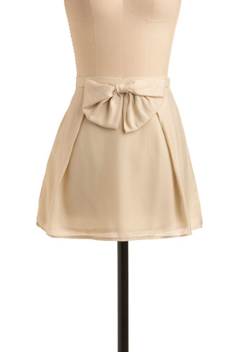 Cute Comedienne Skirt | Mod Retro Vintage Skirts | ModCloth.com :  oversized bow sassy sand pleats