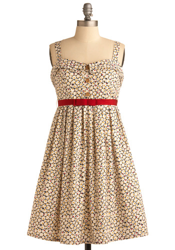 Ginger Brew Dress | Mod Retro Vintage Printed Dresses | ModCloth.com :  polka dot bubbly notched collar foldover