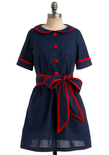 The Dainty Squid Dress in Flea Market - Blue, Red, Solid, Bows, Buttons, Peter Pan Collar, Trim, Casual, Vintage Inspired, A-line, Short Sleeves, Spring, Summer, Shirt Dress, Nautical, Rockabilly, 50s, 60s, Mid-length, International Designer