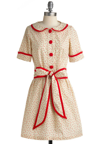 The Dainty Squid Dress in Lake Trip - Cream, Red, Blue, Floral, Bows, Buttons, Trim, Casual, Vintage Inspired, A-line, Short Sleeves, Spring, Summer, Shirt Dress, Mid-length, International Designer