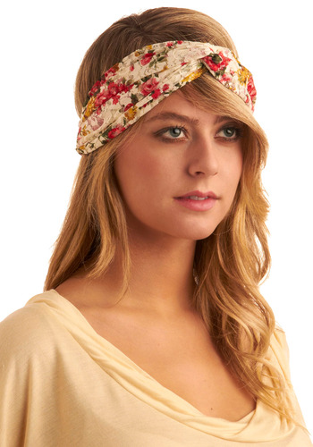 Hairdo the Twist Headband - White, Multi, Red, Yellow, Green, Floral, Lace, Casual, Boho, Spring, Summer