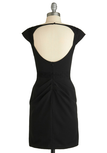 Chief Executive Outfit Dress - Black, Solid, Cutout, Wedding, Party, Shift, Cap Sleeves, Pinup, Vintage Inspired, 60s, Short, Backless