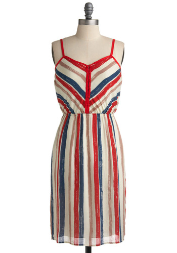 Grill Power Dress - Red, Blue, White, Tan / Cream, Stripes, Casual, A-line, Tank top (2 thick straps), Spring, Summer, Long