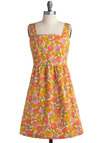 The Happy Bunch Dress by Tulle Clothing - Orange, Multi, Yellow, Green, Pink, White, Floral, Exposed zipper, Pockets, Casual, Vintage Inspired, A-line, Empire, Tank top (2 thick straps), Spring, Summer, Mid-length