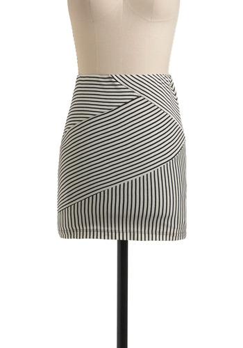 Party Line Skirt - Stripes, Casual, Mini, Spring, Summer, 80s, Black, White, Short