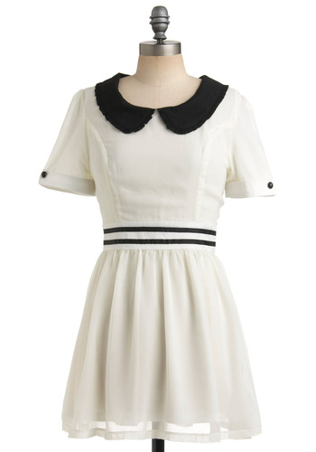 With Affection Dress by Dahlia - White, Black, Solid, Buttons, Peter Pan Collar, Trim, Casual, A-line, Short Sleeves, Spring, Summer, Vintage Inspired, 60s, Short