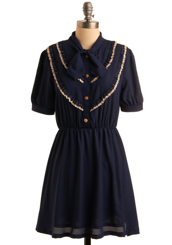 Bow to Your Partner Dress | Mod Retro Vintage Dresses | ModCloth.com :  ruffles tie neck elasticized gold buttons