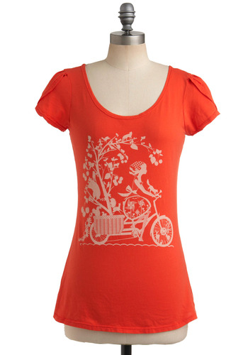 Nature Ride Tee - Orange, White, Novelty Print, Print, Casual, Short Sleeves, Spring, Summer, Mid-length