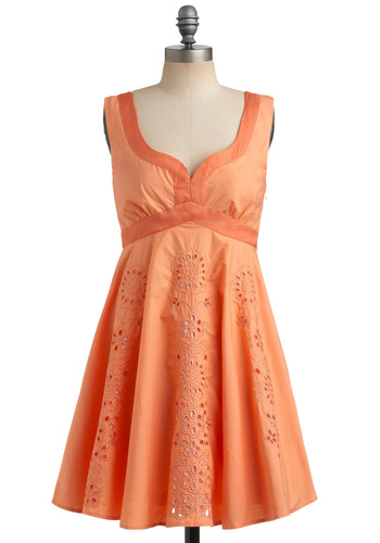 Orange Juliet Dress | Mod Retro Vintage Printed Dresses | ModCloth.com :  party frock gathered orange waistband