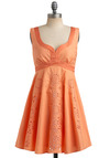 Orange Juliet Dress - Orange, Solid, Floral, Embroidery, Eyelet, Casual, Empire, Sleeveless, Tank top (2 thick straps), Spring, Summer, Short