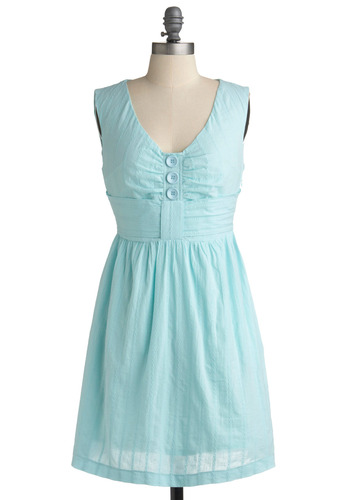 Topic of the Day Dress by Tulle Clothing - Blue, Solid, Buttons, Eyelet, Casual, Empire, Sleeveless, Spring, Summer, Mid-length