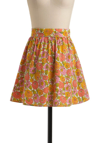 The Happy Bunch Skirt by Tulle Clothing - Multi, Orange, Yellow, Green, Pink, Floral, Casual, Spring, Summer, Print, A-line, Short