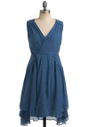 Garment Guru Dress - Blue, Solid, Pleats, Pockets, Ruffles, Casual, A-line, Sleeveless, Spring, Summer, Mid-length