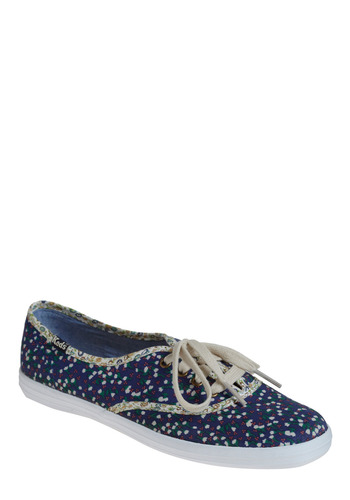 Lasting Foot-prints Sneaker by Keds - Blue, Multi, Floral, Casual, Spring, Summer