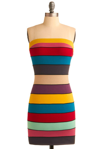 City Center Dress - Multi, Stripes, Party, Casual, Sheath / Shift, Strapless, Short