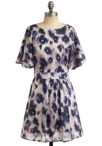 Ink-redible You Dress | Mod Retro Vintage Printed Dresses | ModCloth.com :  indigo tie neck flutter sleeves silky