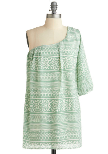 Feelin' Finery Dress - Green, White, Party, Casual, Sack, One Shoulder, Short