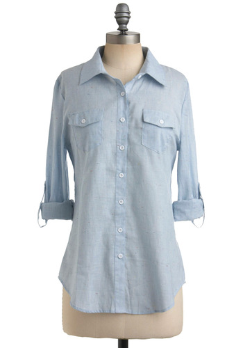Fun-Flecked Essential Top - Blue, Solid, Buttons, Casual, Urban, Spring, Summer, Fall, Mid-length