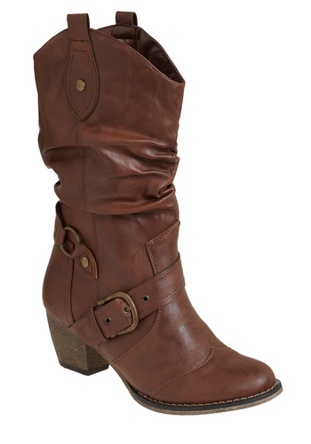 Very Vaquero Boot - Brown, Solid, Buckles, Studs, Casual, Fall, Winter