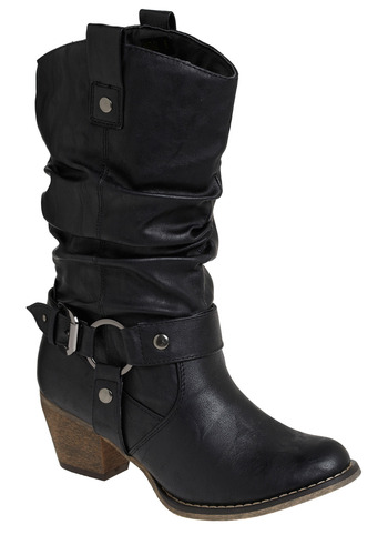 Boot of Confidence - Black, Solid, Casual, Urban, Fall, Winter, Mid, Faux Leather, Tis the Season Sale