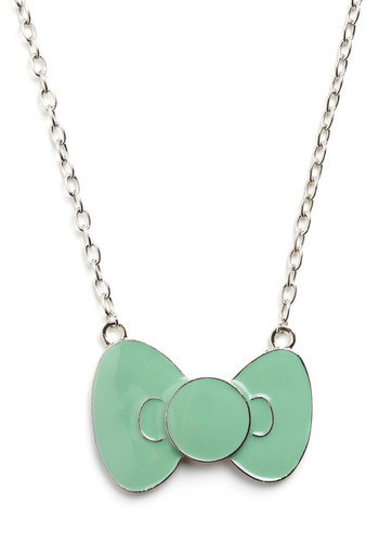 Bow Very Cute Necklace - Green, Silver, Bows, Party, Casual