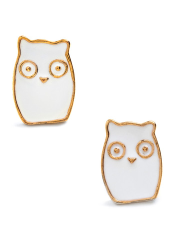 Charming Creatures Earrings - White, Gold, Party, Casual, Owls