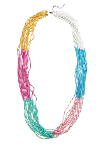 Sweet Strands Necklace - Multi, Green, Blue, Pink, Silver, Gold, Chain, Casual, Vintage Inspired, 70s, Statement, Spring, Summer
