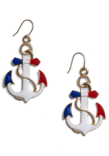 Stylish Seafaring Earrings - White, Red, Blue, Gold, Party, Work, Casual, Nautical, Spring, Summer, 80s