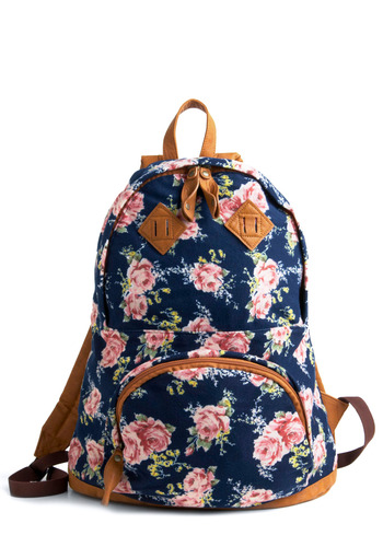 Biking Beauty Backpack in Rosy - Blue, Multi, Green, Pink, Brown, Exposed zipper, Pockets, Casual, Summer, Travel, Scholastic/Collegiate