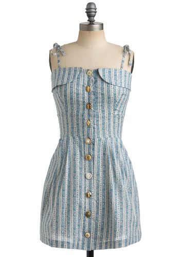 Everything But-ton the Dress - Blue, Green, Pink, White, Stripes, Floral, Buttons, Pockets, Casual, A-line, Mini, Spaghetti Straps, Spring, Summer, Short