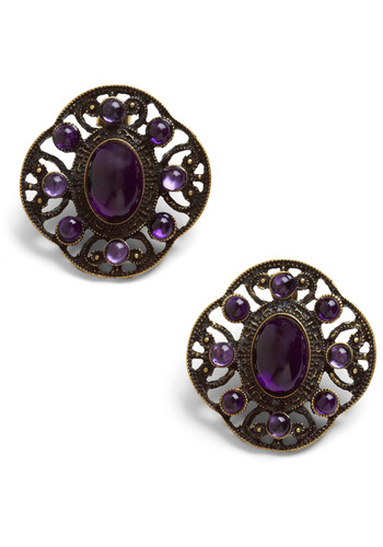 Lovely Legacy Earrings - Bronze, Purple, Formal, Wedding, Party, Vintage Inspired, Rhinestones, Work, Casual, Statement