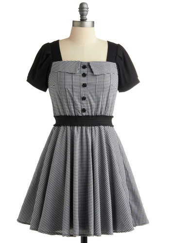 Coaster Swing Step Dress - Checkered / Gingham, Buttons, Casual, Vintage Inspired, 50s, A-line, Grey, Black, White, Short