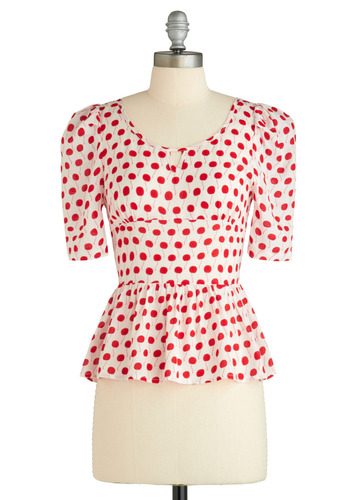 Sample 922 - White, Red, Polka Dots, Cutout, Ruffles, Casual, Short Sleeves