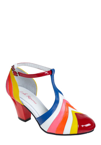 Painted Love Heel by Lola Ramona - Multi, Stripes, Casual, Vintage Inspired, 80s, 60s, International Designer, Mid, Best, T-Strap