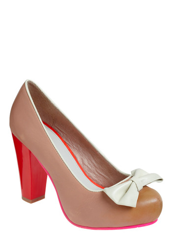 High Classy Heel by Lola Ramona - Cream, Red, White, Bows, Work, Casual