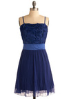 Periwinkle Parade Dress - Blue, Solid, Pleats, Wedding, Party, A-line, Empire, Spaghetti Straps, Flower, Short