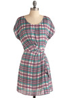 Plaid Romance Dress - Purple, Multi, Green, Blue, Purple, White, Plaid, Pleats, Casual, A-line, Wrap, Short Sleeves, Spring, Summer, Mid-length