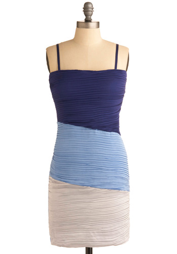 Rippling Waves Dress - Blue, White, Pleats, Casual, Sheath / Shift, Spaghetti Straps, Spring, Summer, Short