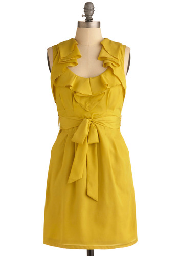 Lemon Sour Dress | Mod Retro Vintage Printed Dresses | ModCloth.com :  chartreuse party frock lemon ruffles