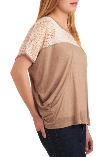 Chai, Chai Again Top - Brown, White, Solid, Lace, Casual, Short Sleeves, Spring, Summer, Mid-length, Boho