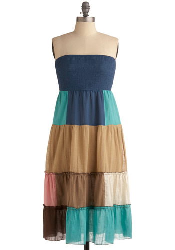 Best Believe It Dress - Multi, Blue, Pink, Brown, Tan / Cream, Ruffles, Casual, A-line, Empire, Strapless, Spring, Summer, Long