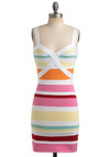Coconut Grove Dress - Multi, Red, Orange, Yellow, Green, Pink, White, Stripes, Party, Casual, Sheath / Shift, Spaghetti Straps, Tank top (2 thick straps), Spring, Summer, Short