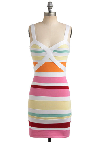 Coconut Grove Dress - Multi, Red, Orange, Yellow, Green, Pink, White, Stripes, Casual, Shift, Spaghetti Straps, Tank top (2 thick straps), Spring, Summer, Short