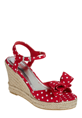 Surfboard Sweethearts Wedge - Red, White, Polka Dots, Bows, Casual, Spring, Summer, Wedge