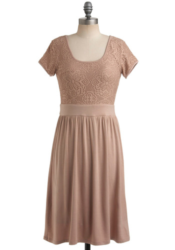 Dress to Kiln - Pink, Solid, Crochet, Casual, A-line, Short Sleeves, Long, Graduation, Scoop