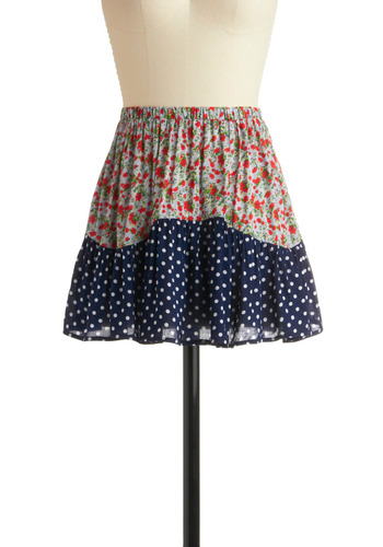 Pattern of Phrase Skirt - Multi, Red, Yellow, Green, Blue, White, Polka Dots, Floral, Casual, A-line, Mini, Spring, Summer, Short
